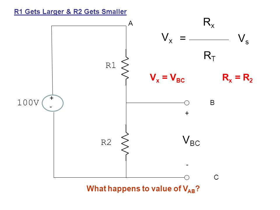 +-+- 100V R1 R2 + - A B C V BC VxVx = RxRx RTRT VsVs V x = V BC R x = R 2 R1 Gets Larger & R2 Gets Smaller What happens to value of V AB