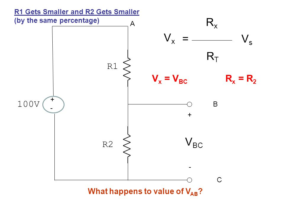 +-+- 100V R1 R2 + - A B C V BC VxVx = RxRx RTRT VsVs V x = V BC R x = R 2 R1 Gets Smaller and R2 Gets Smaller (by the same percentage) What happens to value of V AB