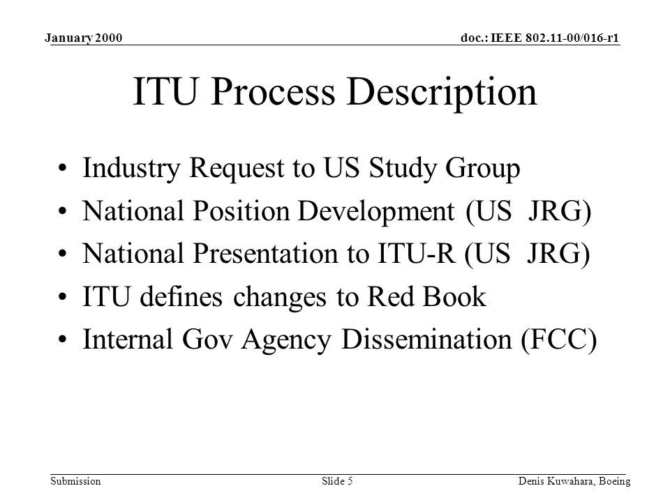 doc.: IEEE 802.11-00/016-r1 Submission January 2000 Denis Kuwahara, BoeingSlide 5 ITU Process Description Industry Request to US Study Group National Position Development (US JRG) National Presentation to ITU-R (US JRG) ITU defines changes to Red Book Internal Gov Agency Dissemination (FCC)