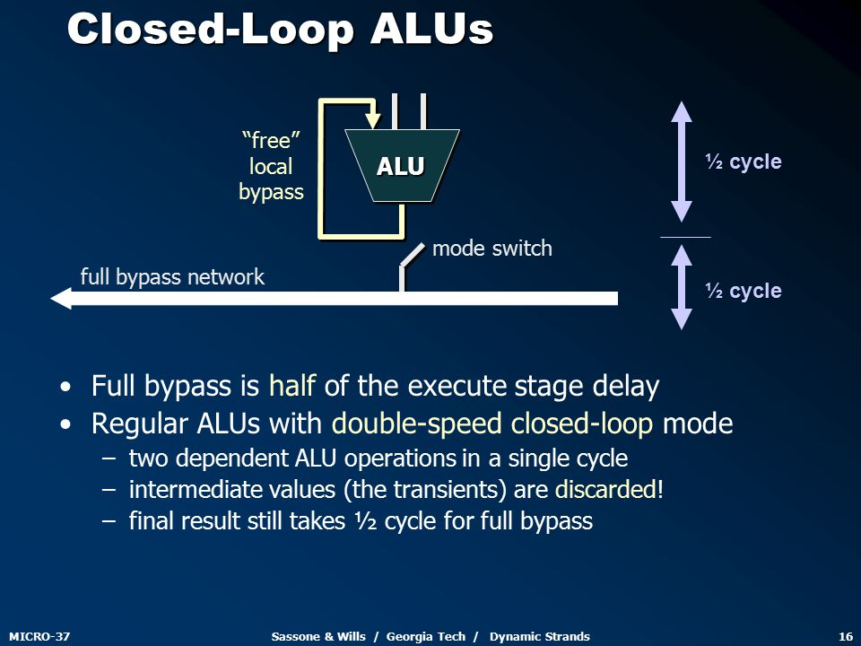 MICRO-37Sassone & Wills / Georgia Tech / Dynamic Strands16 Closed-Loop ALUs Full bypass is half of the execute stage delay Regular ALUs with double-speed closed-loop mode – –two dependent ALU operations in a single cycle – –intermediate values (the transients) are discarded.