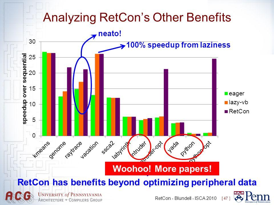Analyzing RetCon's Other Benefits RetCon - Blundell - ISCA 2010 [ 47 ] Takeaway 2: RetCon has benefits beyond optimizing peripheral data Woohoo! More