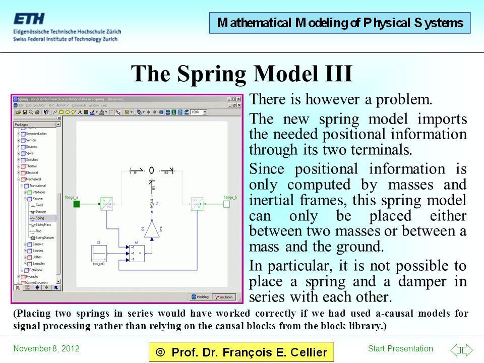 Start Presentation November 8, 2012 The Spring Model III There is however a problem. The new spring model imports the needed positional information th