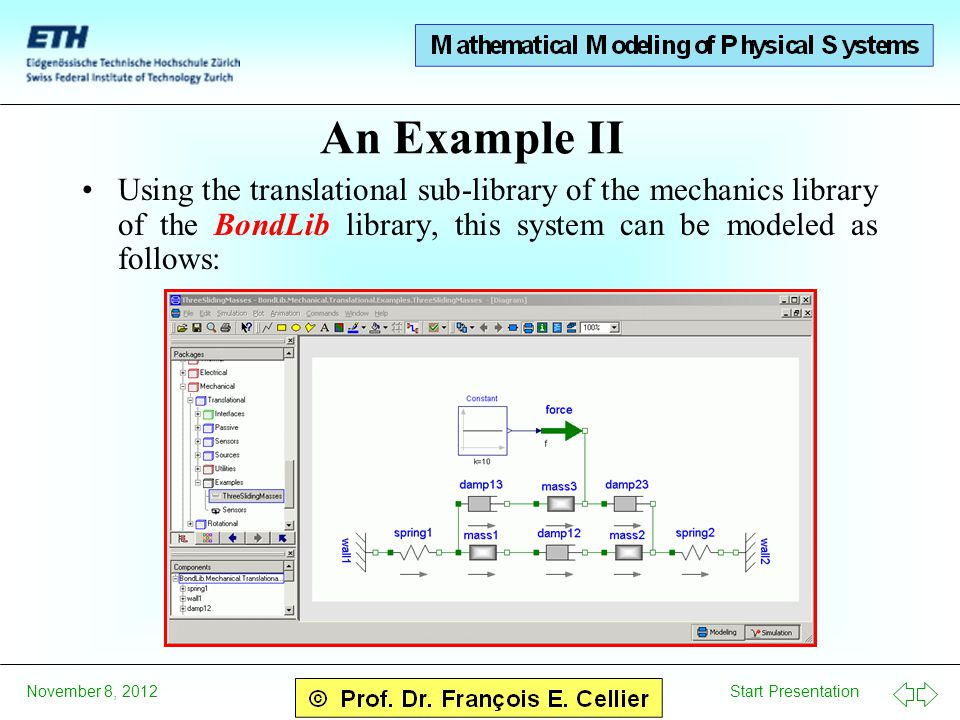 Start Presentation November 8, 2012 An Example II Using the translational sub-library of the mechanics library of the BondLib library, this system can