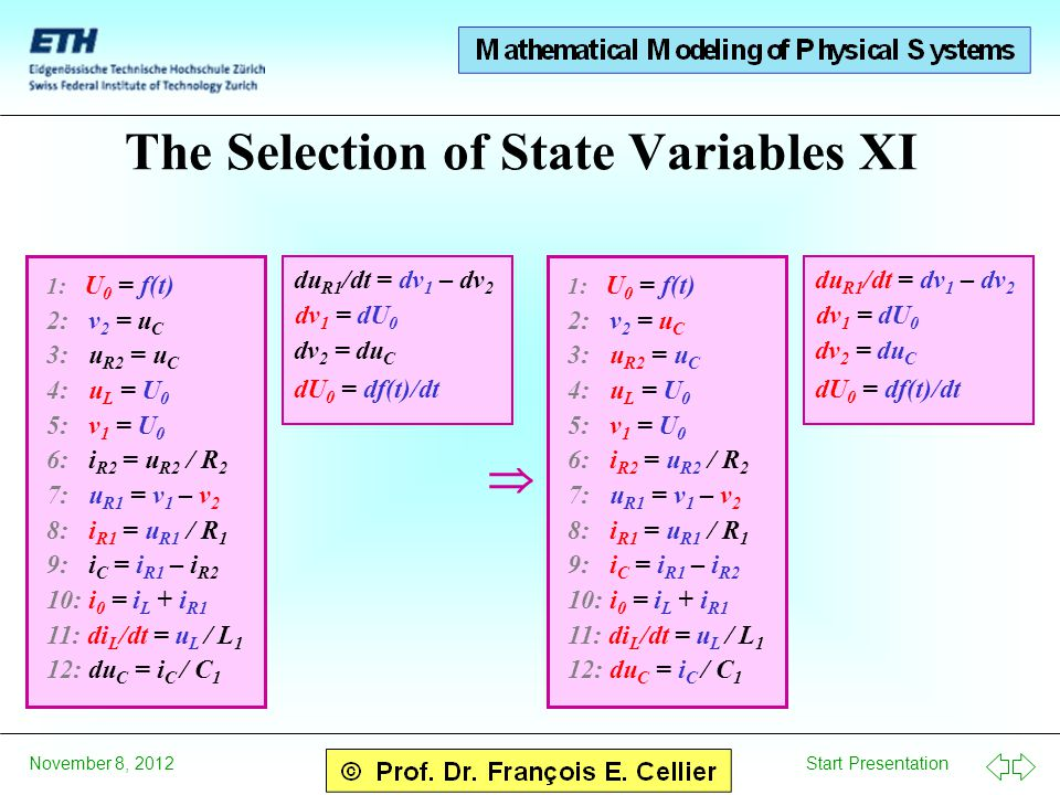 Start Presentation November 8, 2012 The Selection of State Variables XI  1: U 0 = f(t) 2: v 2 = u C 3: u R2 = u C 4: u L = U 0 5: v 1 = U 0 6: i R2 =
