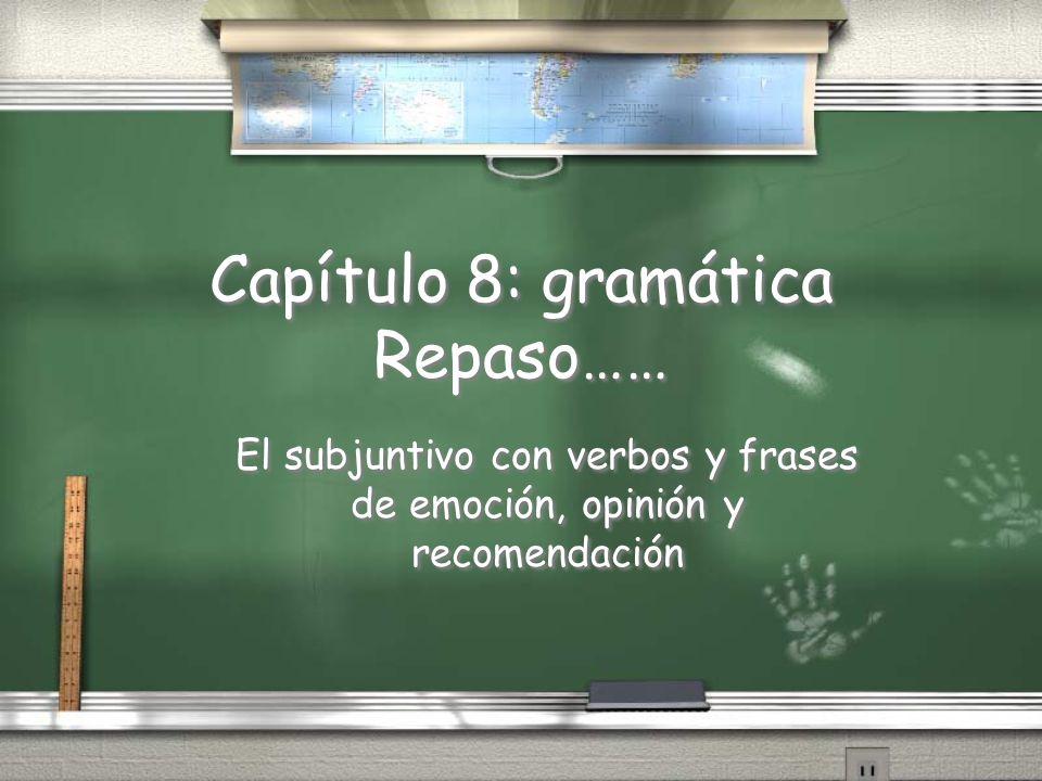 Capítulo 8: gramática Repaso…… El subjuntivo con verbos y frases de emoción, opinión y recomendación