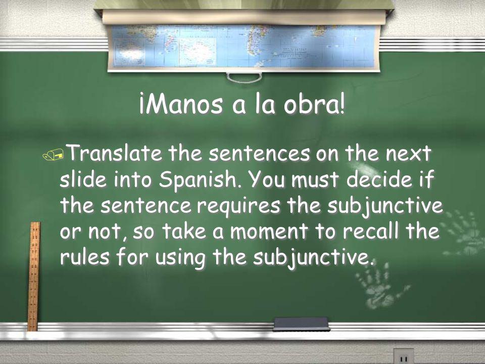 ¡Manos a la obra./ Translate the sentences on the next slide into Spanish.