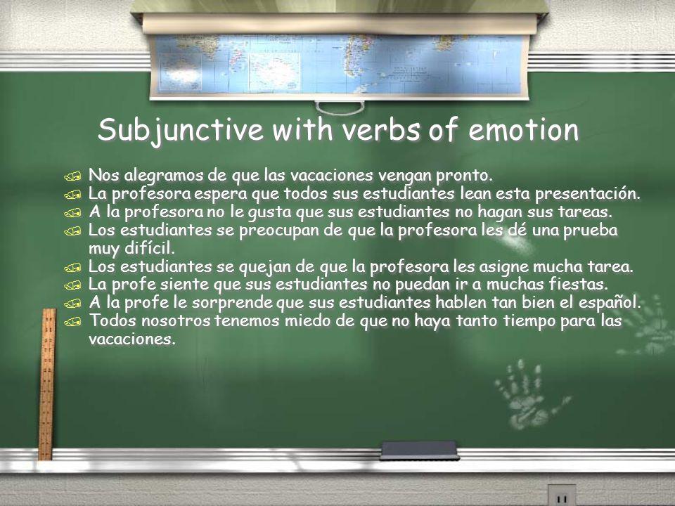 Subjunctive with verbs of emotion / Nos alegramos de que las vacaciones vengan pronto. / La profesora espera que todos sus estudiantes lean esta prese