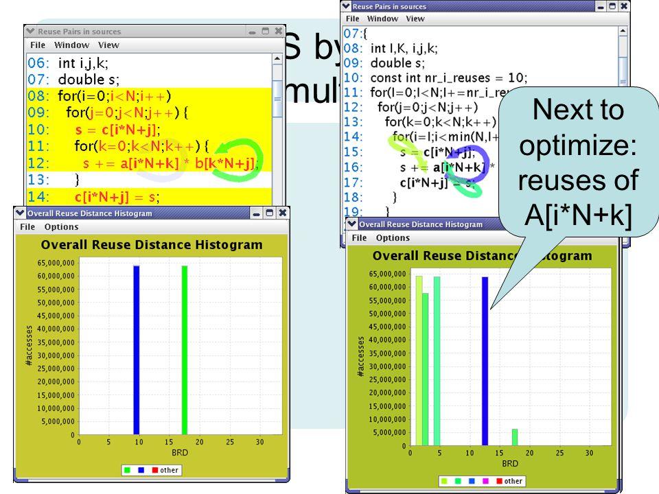 3.Matrix multiplication: final result L1 cache L2 cache Main memory Exec.