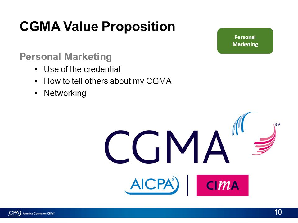 CGMA Value Proposition Personal Marketing Use of the credential How to tell others about my CGMA Networking Personal Marketing 10