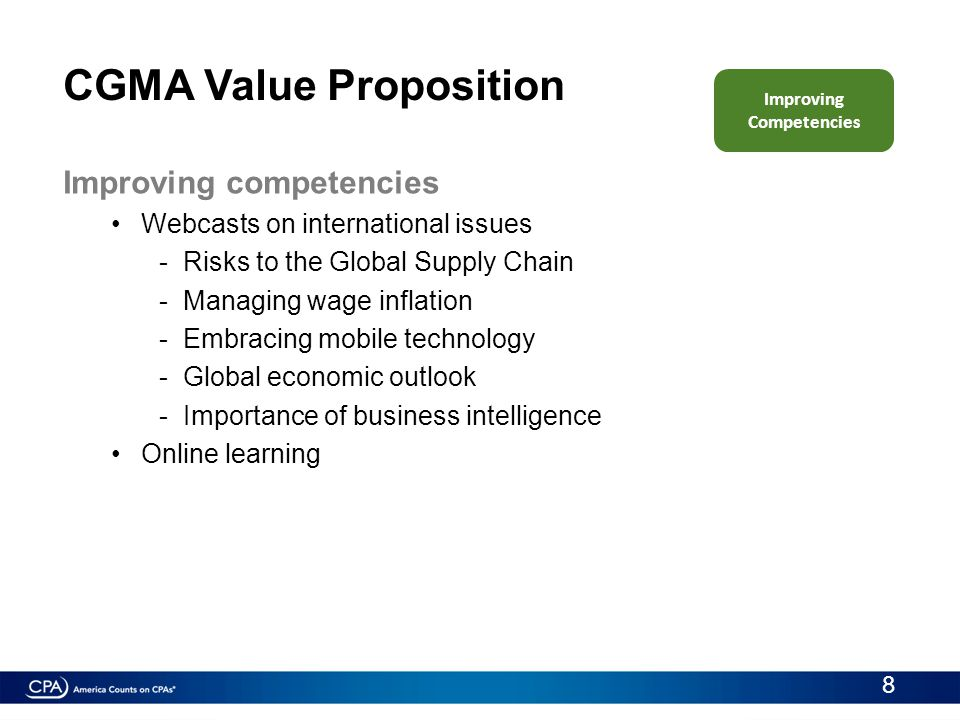 Improving competencies Webcasts on international issues -Risks to the Global Supply Chain -Managing wage inflation -Embracing mobile technology -Globa