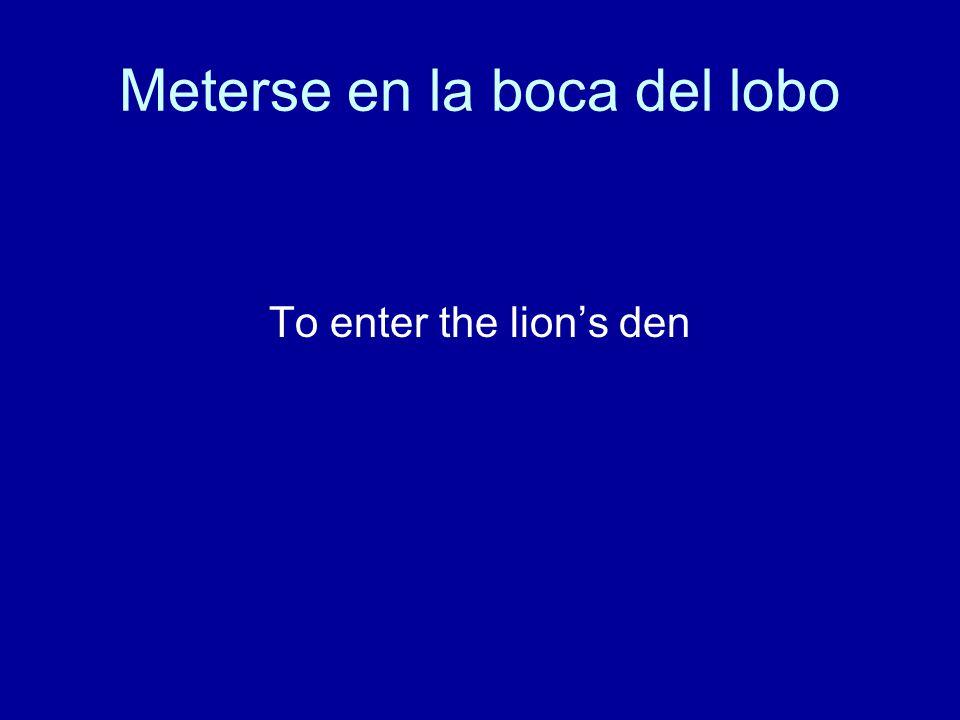 Meterse en la boca del lobo To enter the lion's den