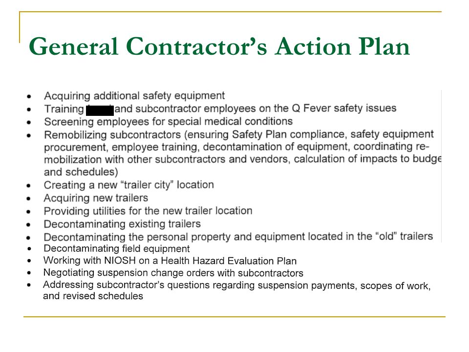 General Contractor's Action Plan