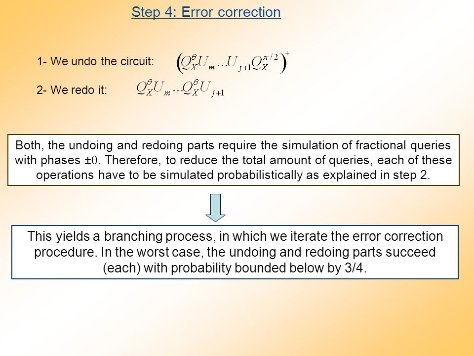 Step 4: Error correction 1- We undo the circuit: 2- We redo it: Both, the undoing and redoing parts require the simulation of fractional queries with phases ± .