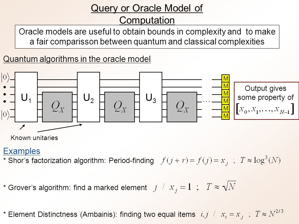 Complexity of the simulation For fidelity 1- , our simulation requires full queries For classical input/output, the overall complexity is