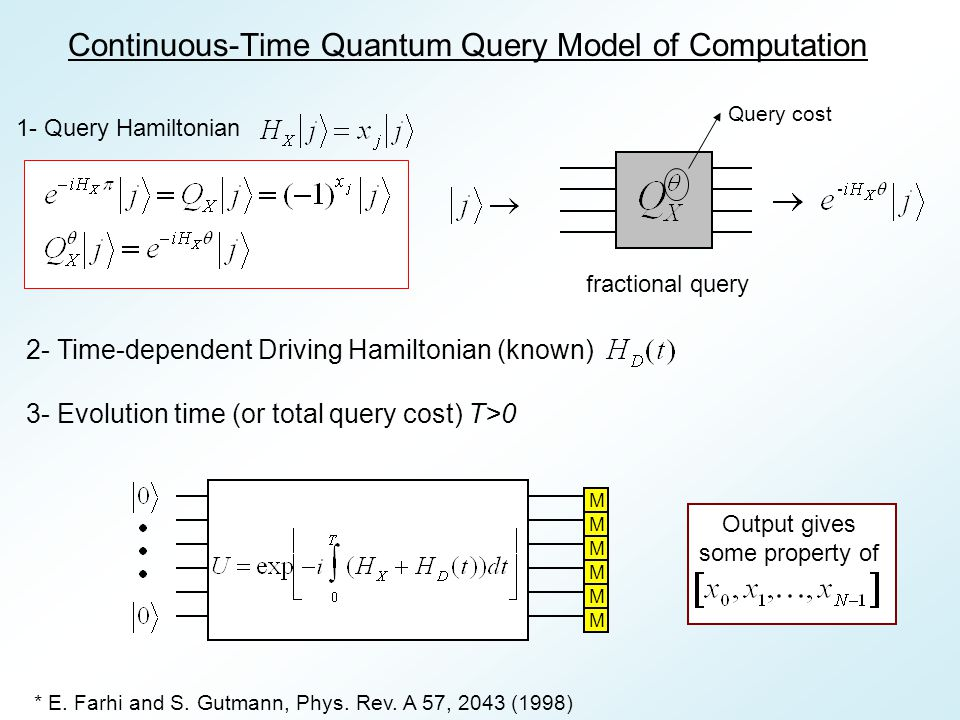 Motivations: Some quantum algorithms have been discovered in the continuous time query model Exponential algorithmic speed up by quantum walk , Childs et.