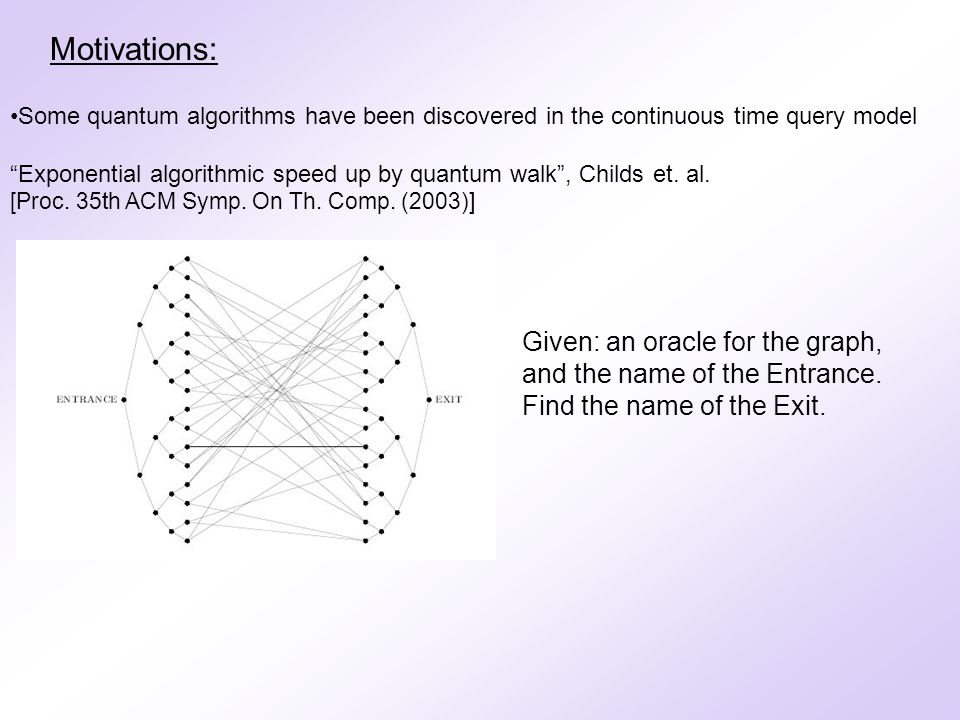 Motivations: Some quantum algorithms have been discovered in the continuous time query model A Quantum Algorithm for Hamiltonian NAND tree , Farhi, Goldstone, Gutmann quant-ph/0702144 The query Hamiltonian is built from the adjacency matrix of a graph determined by the tree and the input state.