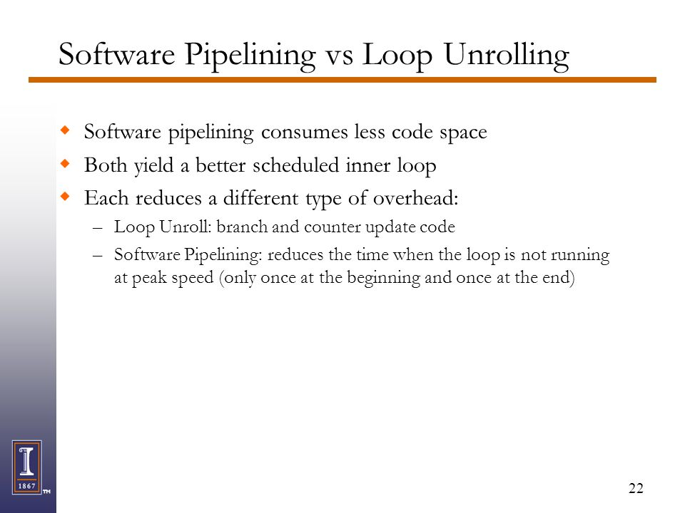 22 Software Pipelining vs Loop Unrolling  Software pipelining consumes less code space  Both yield a better scheduled inner loop  Each reduces a di