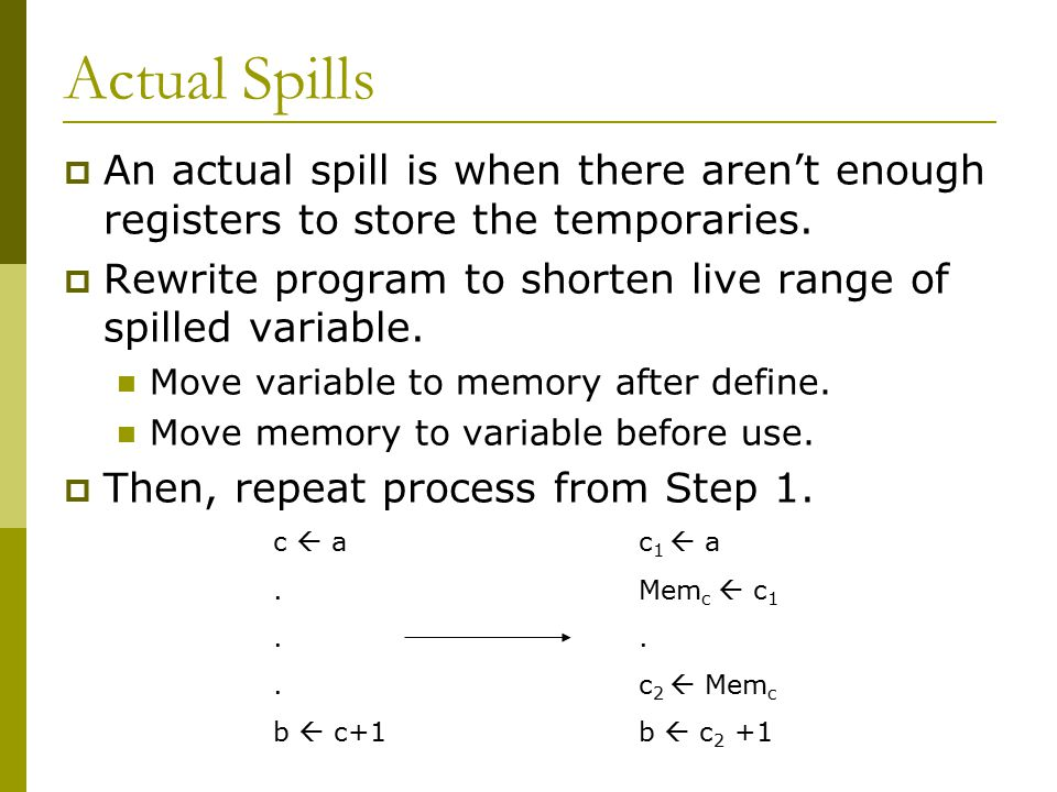 Actual Spills  An actual spill is when there aren't enough registers to store the temporaries.