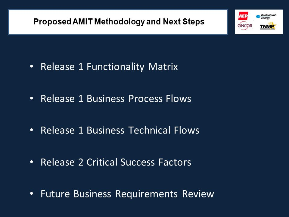 Release 1 Functionality Matrix Release 1 Business Process Flows Release 1 Business Technical Flows Release 2 Critical Success Factors Future Business Requirements Review Proposed AMIT Methodology and Next Steps