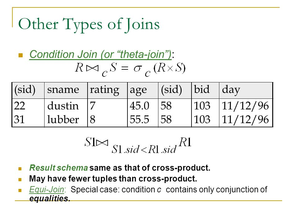 "Other Types of Joins Condition Join (or ""theta-join""): Result schema same as that of cross-product. May have fewer tuples than cross-product. Equi-Joi"