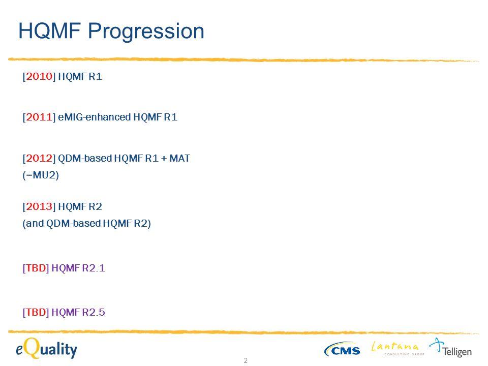 2 HQMF Progression [2010] HQMF R1 [2011] eMIG-enhanced HQMF R1 [2012] QDM-based HQMF R1 + MAT (=MU2) [TBD] HQMF R2.1 [2013] HQMF R2 (and QDM-based HQMF R2) [TBD] HQMF R2.5