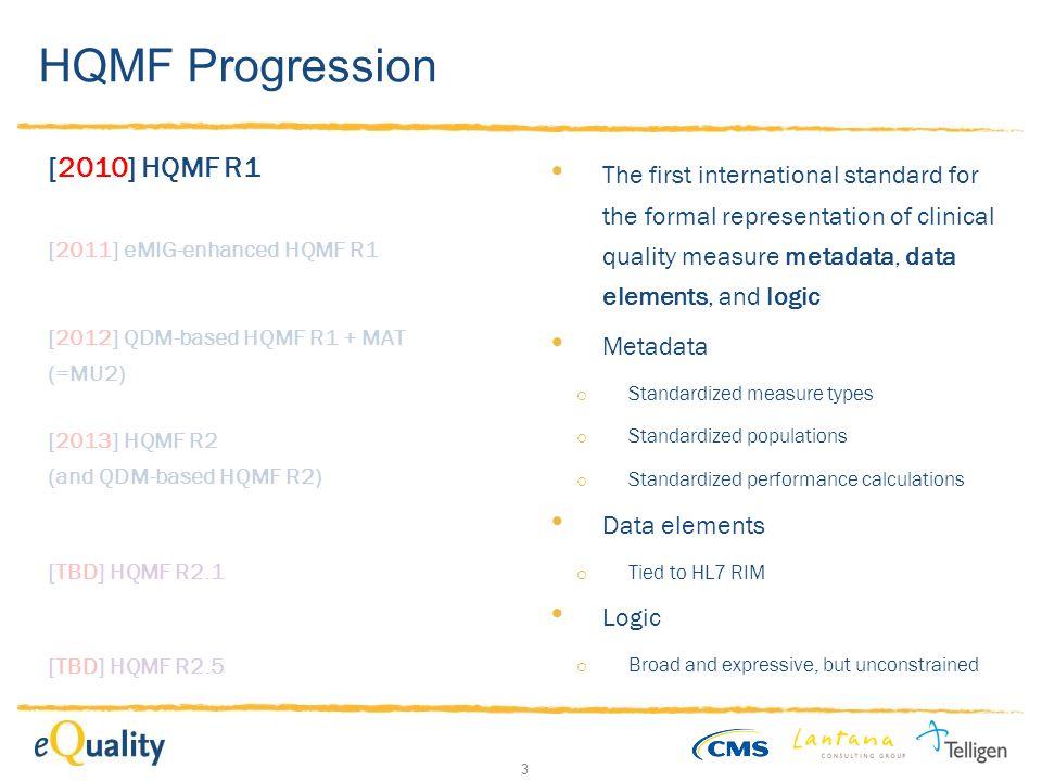 3 HQMF Progression [2010] HQMF R1 [2011] eMIG-enhanced HQMF R1 [2012] QDM-based HQMF R1 + MAT (=MU2) [TBD] HQMF R2.1 [2013] HQMF R2 (and QDM-based HQM