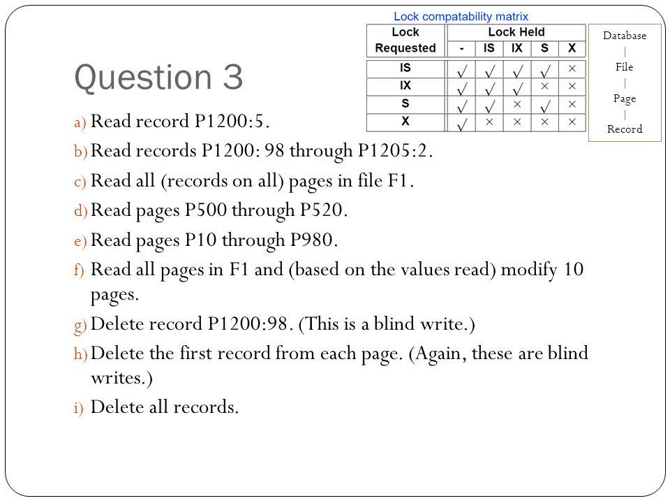 Question 3 a) Read record P1200:5. b) Read records P1200: 98 through P1205:2.