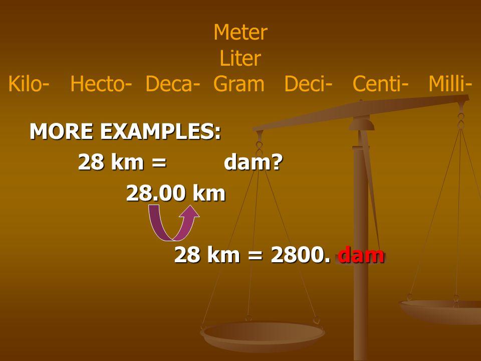 MORE EXAMPLES: 28 km = dam. 28.00 km 28 km = 2800.