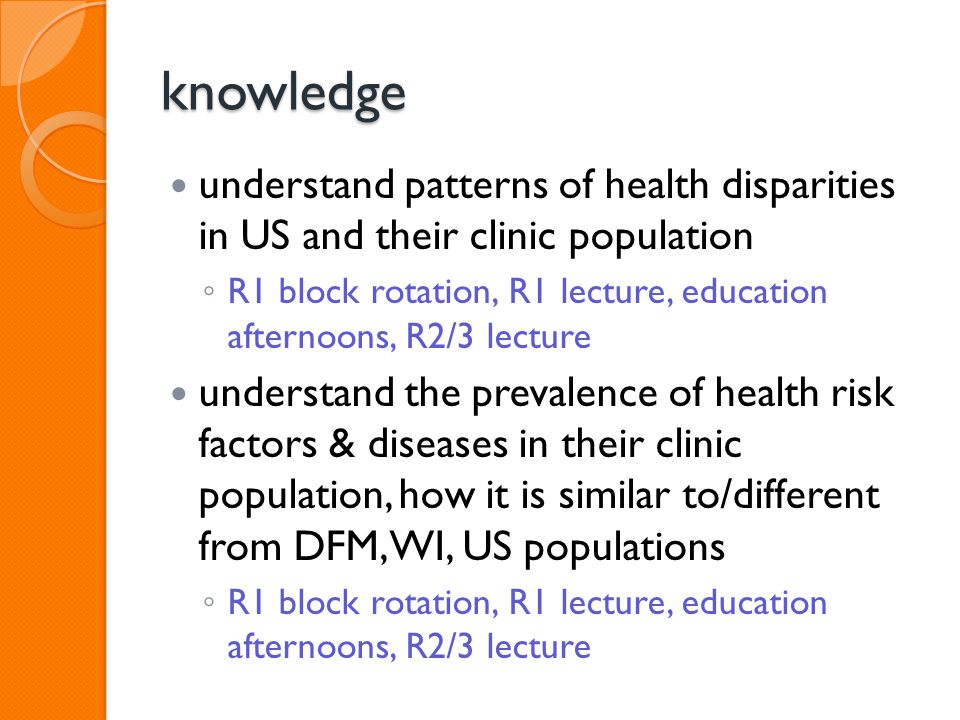 knowledge understand patterns of health disparities in US and their clinic population ◦ R1 block rotation, R1 lecture, education afternoons, R2/3 lecture understand the prevalence of health risk factors & diseases in their clinic population, how it is similar to/different from DFM, WI, US populations ◦ R1 block rotation, R1 lecture, education afternoons, R2/3 lecture