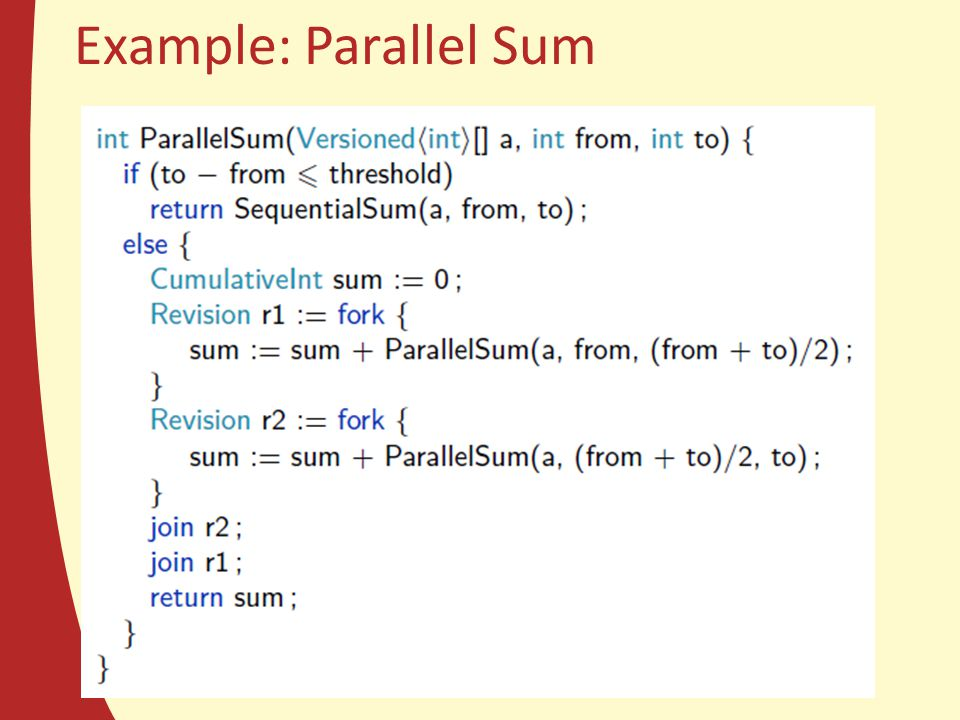 Example: Parallel Sum