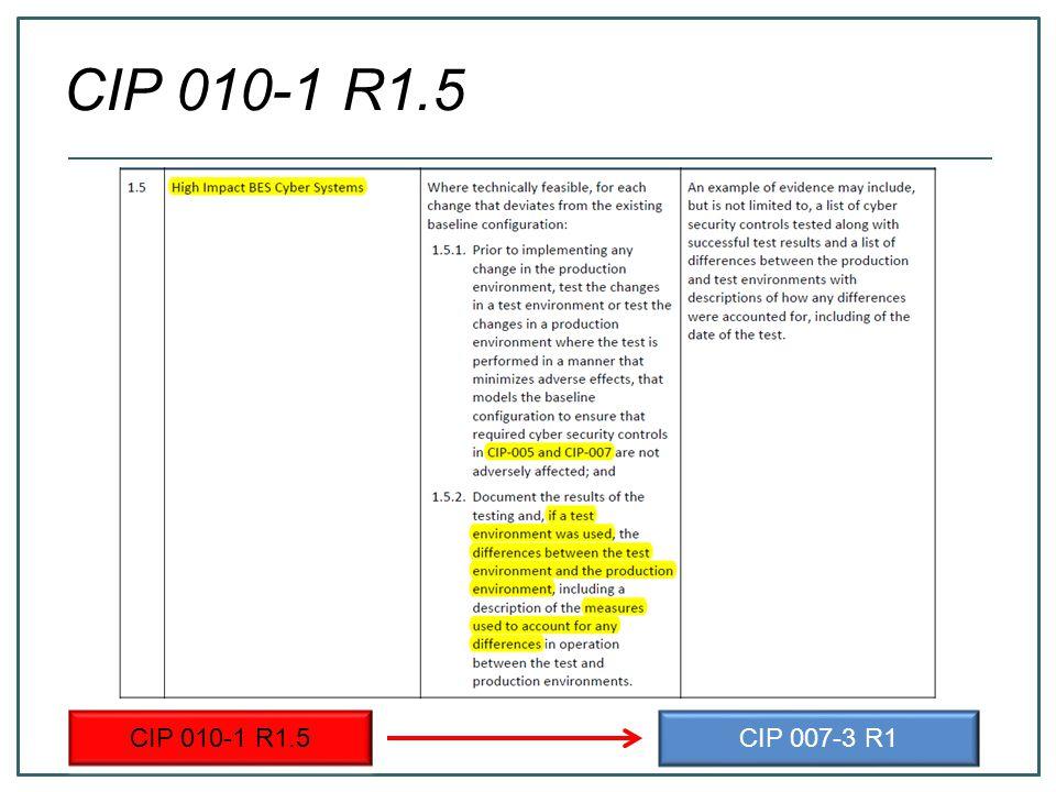 CIP 010-1 R1.5 CIP 007-3 R1