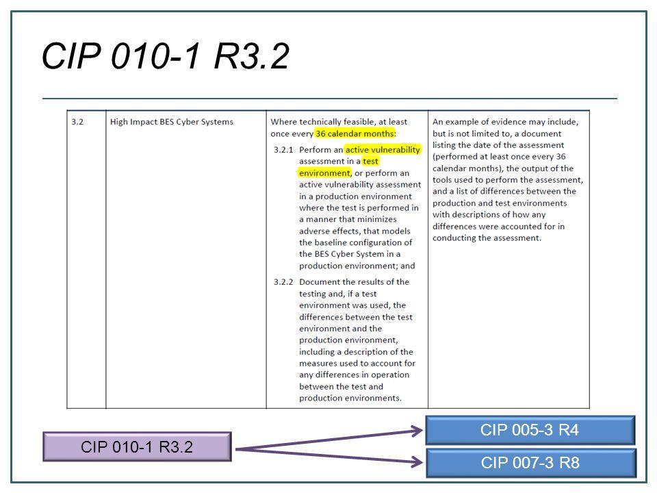 CIP 010-1 R3.2 CIP 005-3 R4 CIP 007-3 R8 CIP 010-1 R3.2