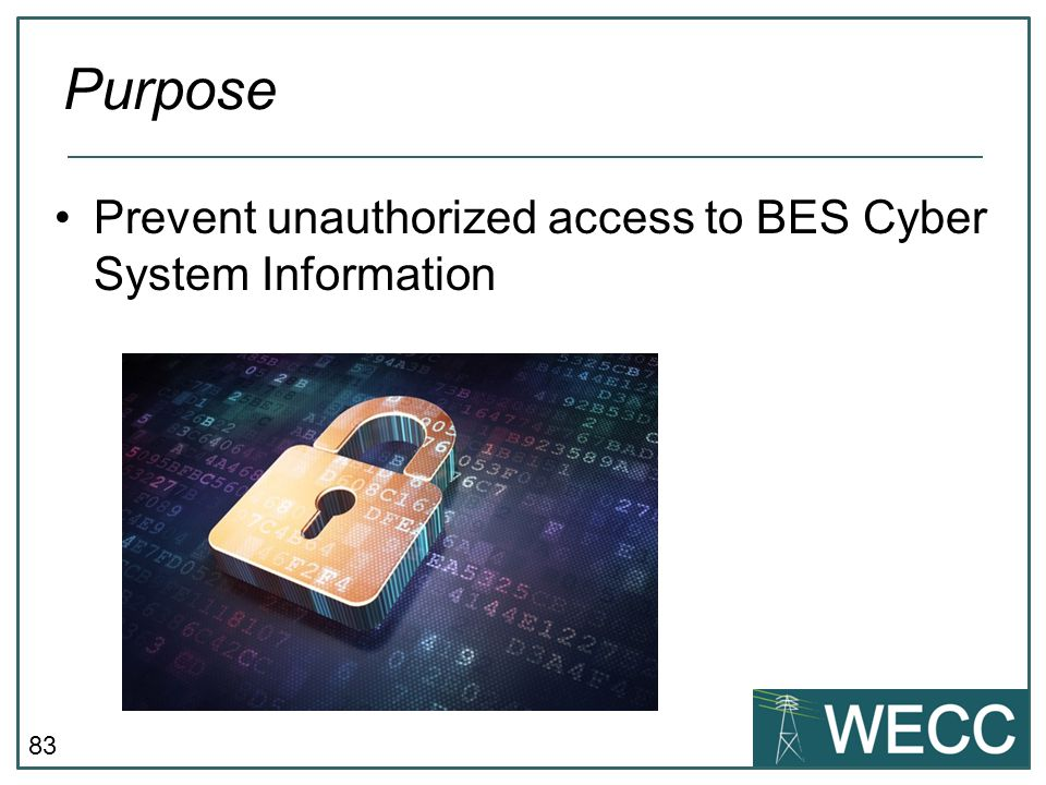 83 Prevent unauthorized access to BES Cyber System Information Purpose