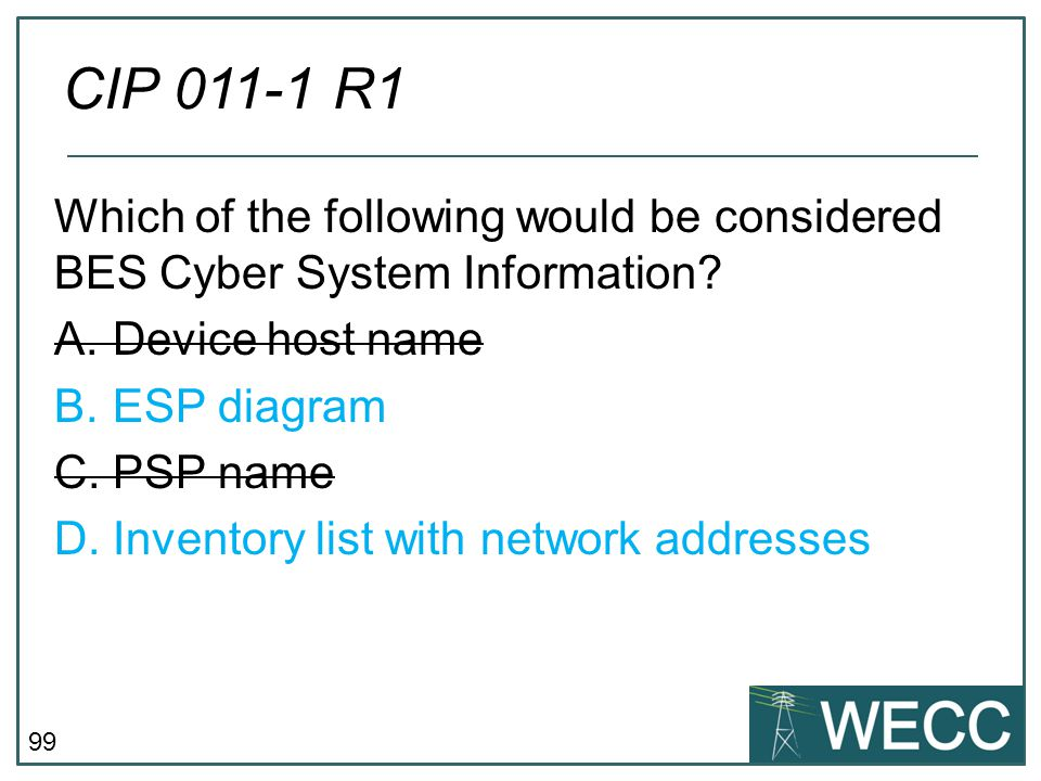 99 Which of the following would be considered BES Cyber System Information? A.Device host name B.ESP diagram C.PSP name D.Inventory list with network