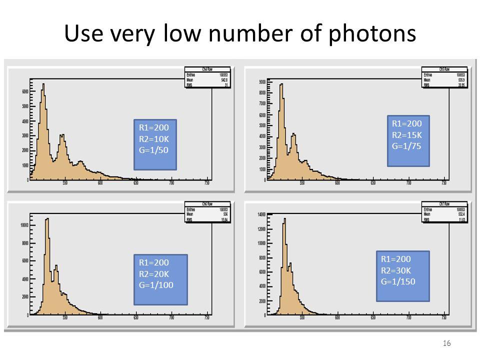 Use very low number of photons 16 R1=200 R2=10K G=1/50 R1=200 R2=15K G=1/75 R1=200 R2=20K G=1/100 R1=200 R2=30K G=1/150