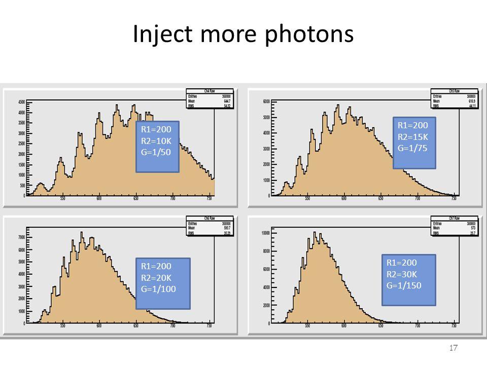 Inject more photons 17 R1=200 R2=10K G=1/50 R1=200 R2=15K G=1/75 R1=200 R2=20K G=1/100 R1=200 R2=30K G=1/150