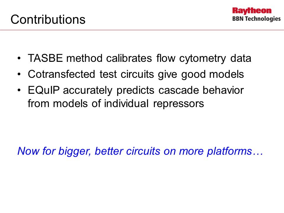 Contributions TASBE method calibrates flow cytometry data Cotransfected test circuits give good models EQuIP accurately predicts cascade behavior from models of individual repressors Now for bigger, better circuits on more platforms…