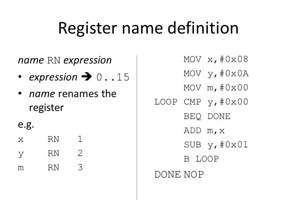 Register name definition name RN expression expression  0..15 name renames the register e.g.