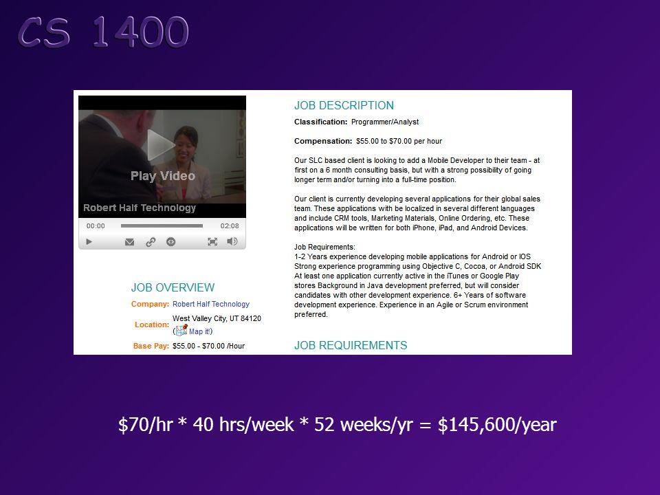 $70/hr * 40 hrs/week * 52 weeks/yr = $145,600/year