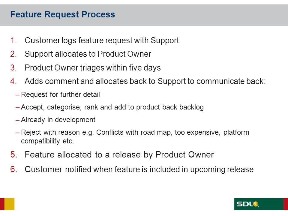 Feature Request Process 1.Customer logs feature request with Support 2.Support allocates to Product Owner 3.Product Owner triages within five days 4.A
