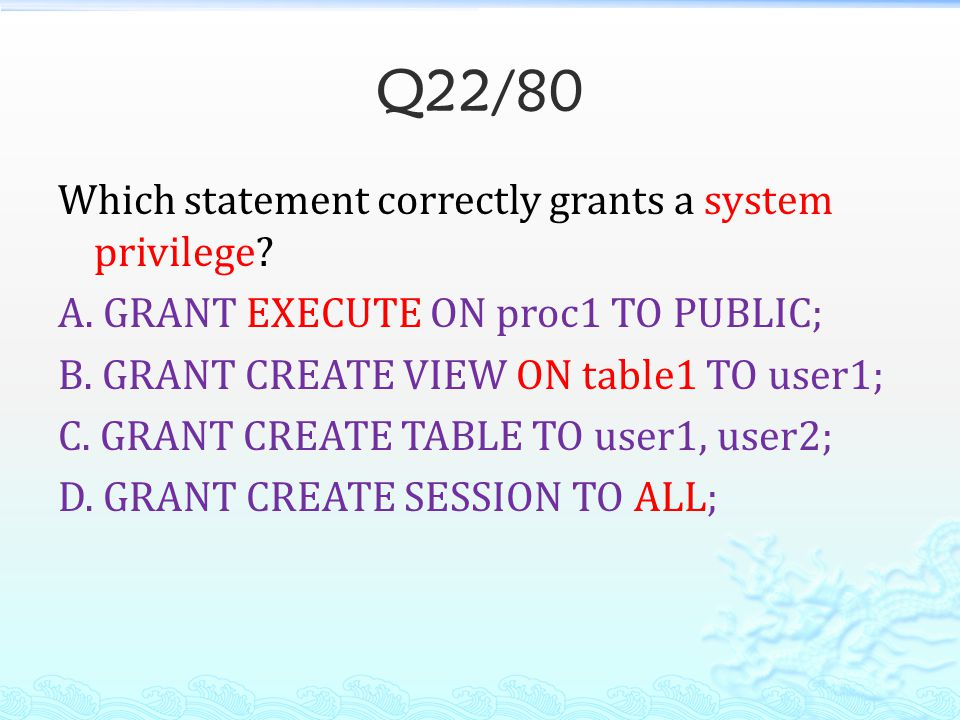 Q22/80 Which statement correctly grants a system privilege.