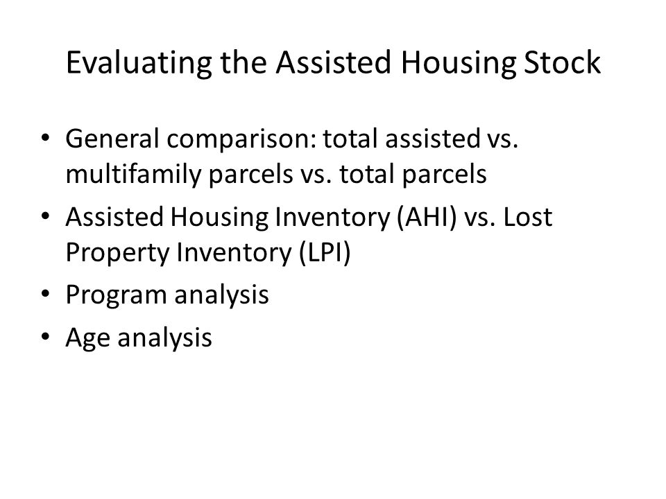 General comparison: total assisted vs. multifamily parcels vs.