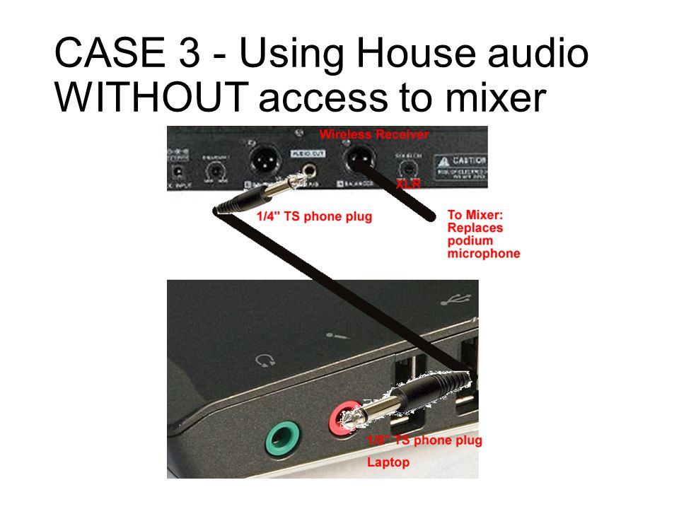 CASE 3 - Using House audio WITHOUT access to mixer