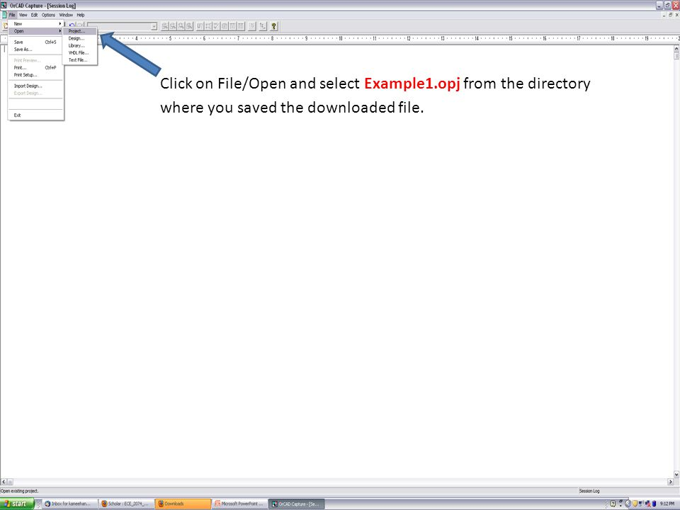 Click on File/Open and selectExample1.opj from the directory where you saved the downloaded file.