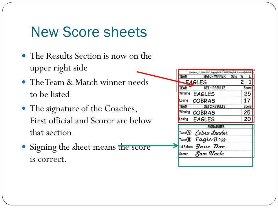 New Score sheets The Results Section is now on the upper right side The Team & Match winner needs to be listed The signature of the Coaches, First off