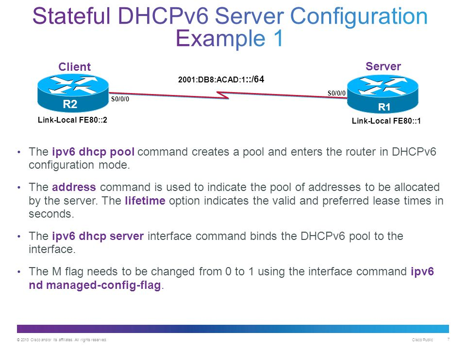 © 2013 Cisco and/or its affiliates. All rights reserved. Cisco Public 7 The ipv6 dhcp pool command creates a pool and enters the router in DHCPv6 conf