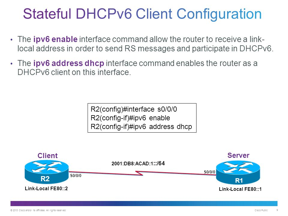 © 2013 Cisco and/or its affiliates. All rights reserved. Cisco Public 9 The ipv6 enable interface command allow the router to receive a link- local ad