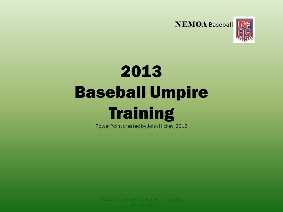 NFHS Baseball Rule 5 Dead Ball- Suspension of Play Baseball Training Presentation created by John Hickey