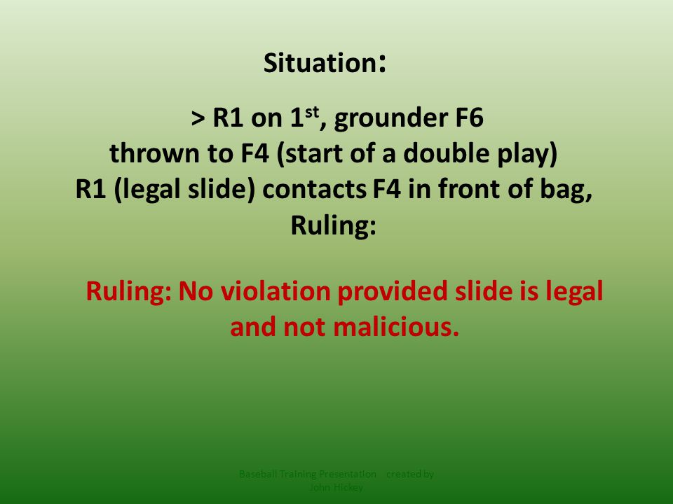 Situation : > R1 on 1 st, B2 hits grounder towards F4, ball hits R1 in front of F4, interference Ruling: Ruling: Immediate Dead Ball, R1 out and BR out at time of interference..