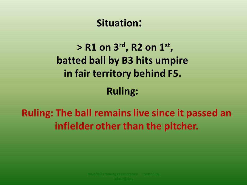 Situation : > R1 on 3 rd, R2 on 1 st, batted ball by B3 hits umpire behind pitcher but in front of F4.